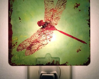 Dragonfly plug-in Night Light. Mood light. Safety Nightlight, Bathroom, Nursery, Teens, Kids, Adult Decor. Unique lighting.