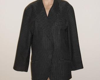 "Vintage Escada Margaretha Ley Jacket L ? 42"" Bust Blazer Black Gray Polka Dots"