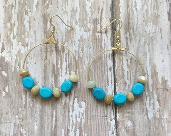Gorgeous turquoise beaded dangle earrings