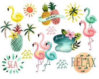 Beach clipart, sea clipart, summer clipart, watercolor clipart, ocean clipart