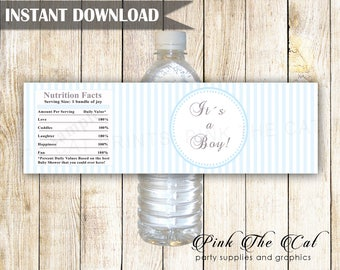 Baby shower water bottle labels, its a boy water bottle labels blue stripes, baby shower decorations boy baby shower favors INSTANT DOWNLOAD