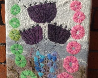 Felt picture felted flower picture floral wall art wool painting embroidered felt picture textile wall art  flowered picture wall decor