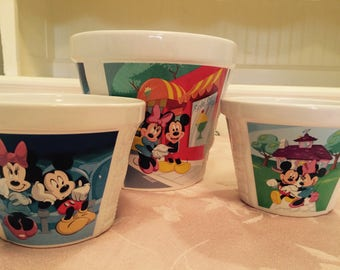 Retro Disney Mickey Mouse Bowl Set Rare! And in perfect condition. Micky Mouse Bowls Mickey Mouse Popcorn Bowls Animated Decor