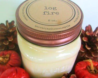 Log Fire 8 oz. Soy Mason Jar Candle // Wood Wick // Fall/Holiday/Winter/Woodsy Scent