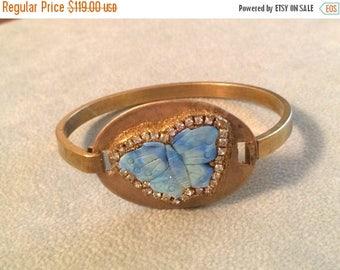 Summer SALE Opal Butterfly Crystal brass bangle bracelet
