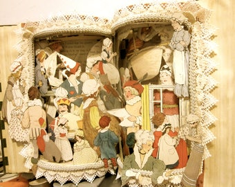 Altered Book pop up style Antique Mother Goose copyright 1916 reserved edition 1930 repurposed book sculpture