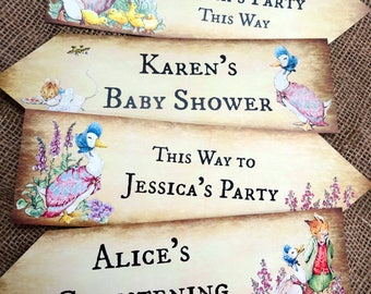 Set of 4 Personalised Beatrix Potter Jemima Puddle-Duck Party Decoration Arrow Signs