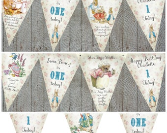 3m Personalised Beatrix Potter Peter Rabbit Bunting/Banner - Any Occasion