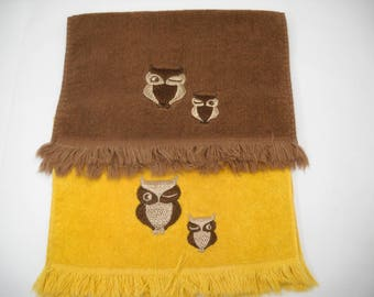 Vintage Martex Fringe Finger Hand Towels Owls Yellow & Brown Mid Century Modern FREE SHIPPING