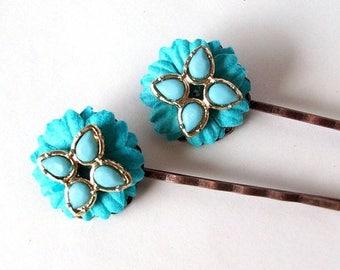 SALE Flowered Vintage Bobby Pins- Set of Two Vintage Re-purposed Earring Hairpins, Flower Bobby Pins, OOAK