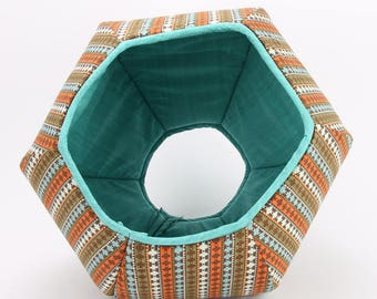 Cat Bed with Striped Southwestern Fabric - Turquoise and brown cat bed - The Cat Ball modern pet bed with two openings