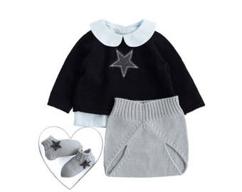 ON SALE Homecoming outfit, knitted baby set, baby sweater, knit diaper cover, knitted baby socks, baby outfit, black and gray. Merino wool.