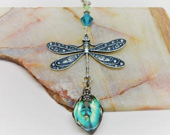 Dragonfly Necklace, Dragonfly Jewelry, Dragonfly Leaf, Leaf Necklace, Turquoise Dragonfly Necklace