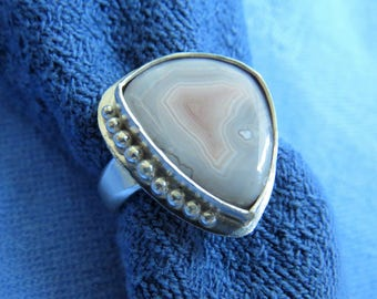 Free Form Botswana Agate in Granulated Sterling Ring Size 6 & a Quarter