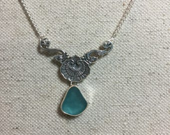 Blue Green Seaglass with sterling silver shell drop