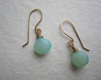Blue Green Chalcedony, 14k GF Drop Earrings