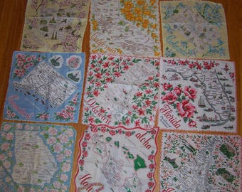 All 50 states handkerchiefs! Vintage, rare find! flowers, cities, historical places, etc
