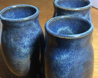 Handmade Pottery Whiskey Glasses, Set of 3, Ceramic Wine Glasses Decorated Mug, Set of 3, 0827