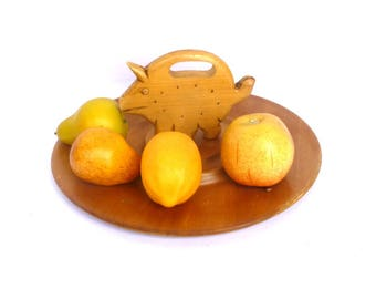 Vintage WOOD CHEESE TRAY