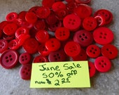 June Sale Red Buttons, 100 Bulk Assorted Medium to Small Round Multi Size Crafting Sewing Buttons