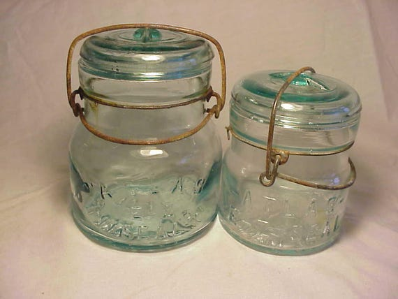 Set Of Four C1910 20s Atlas E Z Seal Aqua Fruit Jars Half Pint Pint Quart And Half Gallon Jars