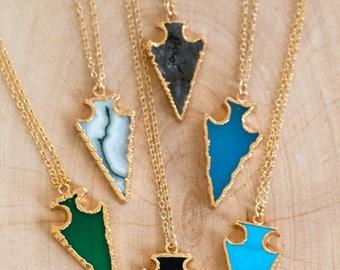 40 OFF - Small Arrowhead Gemstone Pendant - Layering Necklace - Raw Stone Arrowheads - Bohemian Necklace - Boho Hippie Chic Necklace - Arrow