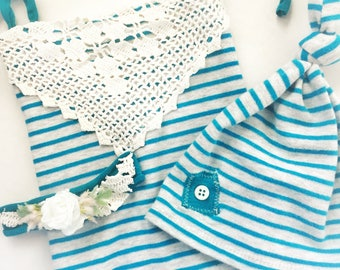 Newborn teal and gray romper and headband, newborn photography props, girls photo prop sets, photography props