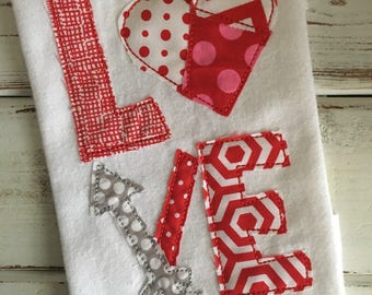 Love Arrow Valentine Heart Bean Stitch Applique Embroidery Design 5x7 6x10 8x8 8x12