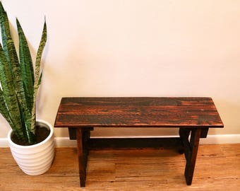 Rustic Reclaimed Wood Bench - Extra Sturdy, Honey Stain, Sealed with Poly, So Cute!