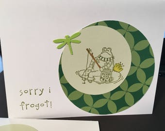 Belated birthday - frog designed cards - set of 2
