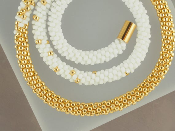 White and Gold Long Rope Necklace