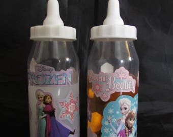 Reborn baby doll 2oz FROZEN Faux Fake milk and apple juice baby doll bottles photo props OOAK Ready to ship
