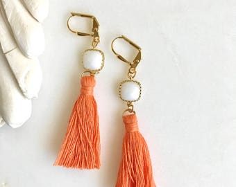 Orange and White and Gold Tassel Earrings.  Long Tassel Earrings.  Gold Statememt Earrings. Holiday Tassel Jewelry. Statement Earrings.