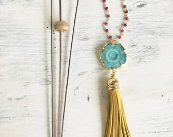 Tassel Necklace. Leather Tassel Necklace. Mustard Yellow Fuchsia and Team Tassel Necklace. Long Tassel Necklace. Boho Tassel Jewelry. Gift.