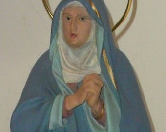 Antique Image Sancta Mater Dolorosa Virgin Mary Our Lady of Sorrows  Glass Eyes Statues of the 50's