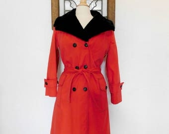 Fur Collar Trench Coat Vintage 70s Red Belted Coat - L / XL