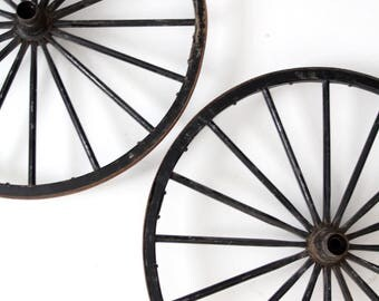 antique wagon wheels, large wooden spoke wheels set/2