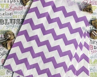 GLAM SALE Party Favor Bags, Purple Chevron Favor Bags, Purple Wedding Favor Bags, Wedding Candy Bags, Popcorn Bags, Gift Bags, Treat Bags -