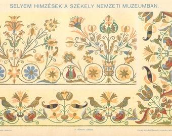 1897 Szekler or Székely Silk Embroideries Vintage Print