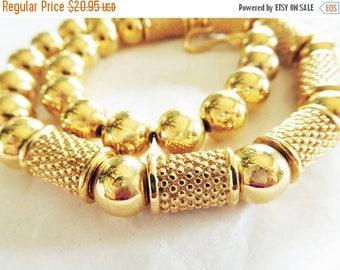 SALE Vintage NAPIER Necklace Gold beaded Modernist  Bold Mom Bride