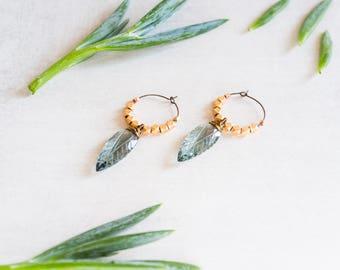 Rose Gold Hoop Earrings, Faceted Aquamarine Quartz, Spikes, Cubes, Boho, Minimalist Jewelry, Beaded Hoop Earrings, Dainty Hoops