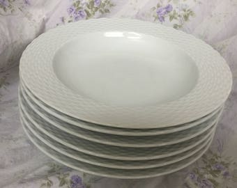 White Porcelain French Salad or Pasta Plates (Set of 6)