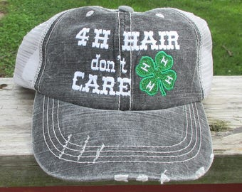 4-H Hair don't care embriderd glitter hat