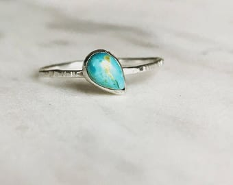 Turquoise ring, minimalist ring, turquoise jewelry, stacker ring, thin ring, decemeber birthstone, birthstone ring, arizona turquoise, gift