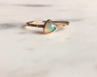 Gold and opal ring, trillon opal, stacker ring, stackable gold ring, opal ring, minimalist ring, simple ring, hammered gold, opal stacker