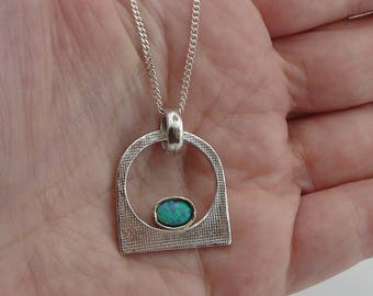 Hadar handcrafted  Sterling Silver Opal Pendent  round , chain ,gift , opal (2908)