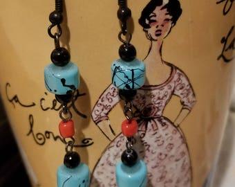 Aqua red dangle earrings