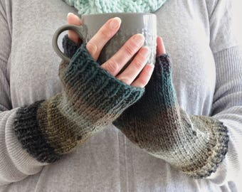 WINTER Warm Gloves. Handknit Teal Grey Fingerless Mittens. Striped Gloves. Gift For Woman. Wool Blend Gloves. Knit Mittens. Ready To Ship.