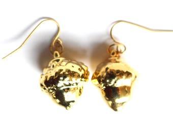 Real Acorn Gold earrings