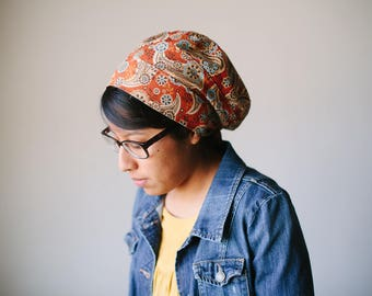 Orange Autumn Damask Cotton Snood Headcovering | Women's Headcovering Veil
